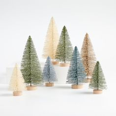 Sage and Silver Bottle Brush Christmas Trees, Set of 8 + Reviews | Crate and Barrel Canada