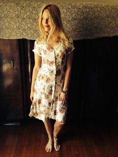 Lola Dress/Vintage 70's Gauzy Dress/Cream Floral by LydiaLoveVtg
