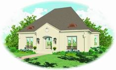French Country Plan: 3,032 Square Feet, 4 Bedrooms, 2.5 Bathrooms - 041-00205 French Country House Plans, Southern House Plans, Family House Plans, Best House Plans, Design Your Dream House, Build Your Dream Home, House Design, Hall House, House Stairs