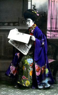 Hangyoku Reading a Newspaper - hand-colored postcard, 1910  via