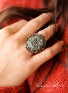 Bohemian Holiday Cocktail Ring Vintage Glass by saylorrose on Etsy