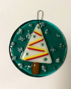 Fused Glass Christmas Tree Ornament by larkspurstudios on Etsy, $20.00