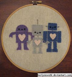 Robot Embroidery Hoop by ~berlynnwohl on deviantART
