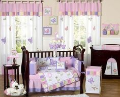 Pink and Purple Butterfly Collection 9 pc Crib Bedding set has all that your little bundle of joy will need. Let the little one in your home settle down to sleep in this incredible nursery set. This baby girl butterfly bedding collection features det