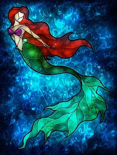 Stained glass Ariel with Little Mermaid lyrics! Art journal idea with my favorite disney. Disney Stained Glass, Stained Glass Art, Stained Glass Windows, Stained Glass Tattoo, Fused Glass, Mermaid Song, Ariel Mermaid, Mermaid Disney, Disney Cast
