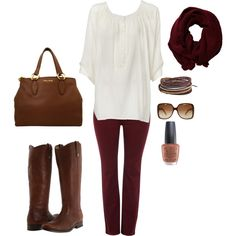 White flowing shirt with rust skinny jeans and boots