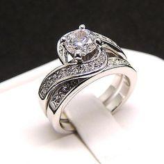 Jillian Engagement Wedding Band Ring Set AAA Cubic Zirconia Rhodium Plated