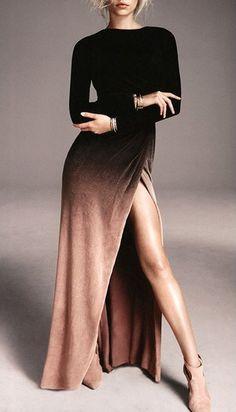 Trendy Her Fashion High Slit Long Sleeve Women Dress