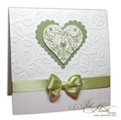 anniversary card, scalloped heart, embossing folder