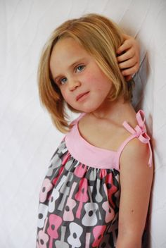 Girls dress with guitars and pink spaghetti by SchoolHouseFrock, $43.00