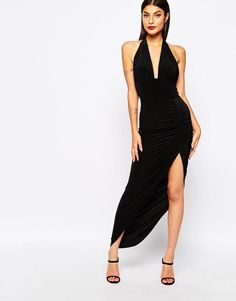 Club L | Club L Deep Plunge Halterneck Maxi Dress With Side Ruched Detail at ASOS