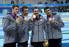 Conor Dwyer, Michael Phelps, Ryan Lochte, and Ricky Berens. London Olympics 2012 Men's Swimming Gold Metalists.