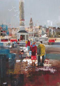 'Big Ben from Trafalgar Square' Nagib Karsan Color Pop, Fine Art, Cityscape, New Artists, Painting, Illustration Art, Art, Collage Art, Abstract