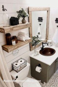 Home Decor Diy I like the grey cabinet with the rustic looking wood mirror. Imagine it flanked with the black barn lights.Home Decor Diy I like the grey cabinet with the rustic looking wood mirror. Imagine it flanked with the black barn lights Diy Bathroom Decor, Small Bathroom, Bathroom Ideas, Bathroom Storage, Master Bathrooms, Wood Mirror Bathroom, Bathroom Bin, Bathroom Black, Bathroom Cleaning
