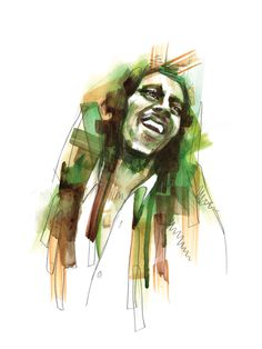 Watercolor Voices - A Portrait of Bob Marley  / ink and watercolor on paper drawing, 9x12 | Art