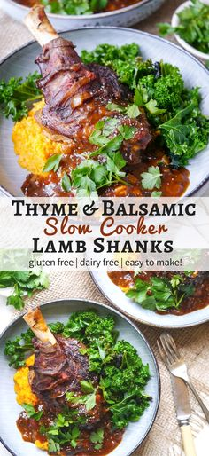 Balsamic slow cooker lamb shanks made with dried thyme and a rich flavoursome tomato sauce. Gluten free, dairy free and really easy to make! on nourisheveryday.com