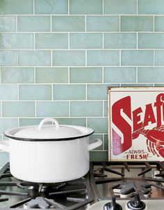 Shorely Chic: Blue Glass Subway Tile Kitchen. Look at herringbone pattern.