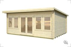 Pent roof log cabin style chalet produced using untreated timber logs. Lisa suitable as a large garden room or as a spaciour garden office. Timber Buildings, Garden Buildings, Lisa, Epdm Roofing, Cabin Office, Garden Log Cabins, Log Cabins For Sale, Timber Logs