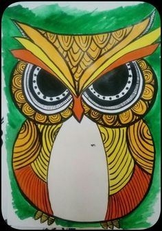 Beautiful, colorfull owl painting
