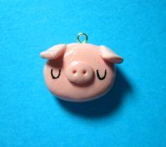 Pink Pig Polymer Clay Charm Kawaii Jewelry Pig by TheHappyAcorn, Fimo Polymer Clay, Polymer Clay Miniatures, Polymer Clay Projects, Polymer Clay Creations, Clay Crafts, Polymer Clay Jewelry, Small Figurines, Kawaii Jewelry, Cute Clay