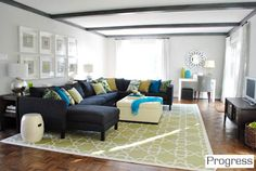 Love this living room from Young House Love, so comfy and cheerful....