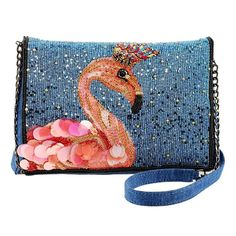 Mary Frances Queen Flamingo Embellished Denim Bird Blue Pink Beaded Bag New Beaded Clutch, Beaded Bags, Novelty Handbags, Women's Handbags, Designer Handbags, Mary Frances Handbags, Animal Bag, Denim Shoulder Bags, Shoulder Handbags
