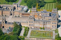 Aerial view closeup of Blenheim Palace. Woodstock, Oxfordshire, England, UK