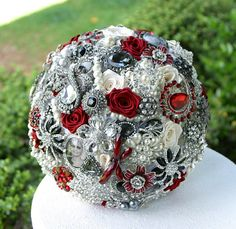 Red, Black and White Wedding Brooch Bouquet. DEPOSIT on made to order Heirloom Bridal Broach Bouquet. via Etsy