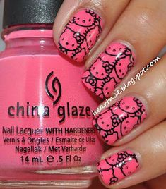 Hot Pink Hello Kitty Nail Art: Manicure done with China Glaze Sugar High and stamped using in Konad Black. Hot Pink Hello Kitty Nail Art: Manicure done with China Glaze Sugar High and stamped using in Konad Black. So Nails, Fancy Nails, Trendy Nails, How To Do Nails, Cute Nails, Bling Nails, Hallo Kitty, Kitty Kitty, Jolie Nail Art
