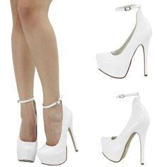 White Platform Heels With Ankle Strap