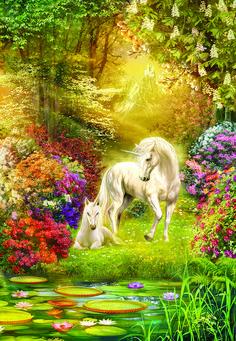 Jan Patrik Krasny Poster Print Wall Art Print entitled Enchanted Garden Unicorns I Fantasy Unicorn, Unicorn And Fairies, Unicorns And Mermaids, Unicorn Horse, Unicorn Art, Rainbow Unicorn, Fantasy Kunst, Fantasy Art, Magical Creatures