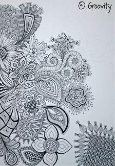 Zentangle Drawings, Doodles Zentangles, Doodle Patterns, Zentangle Patterns, Square Patterns, Flower Patterns, Zen Colors, Insect Art, Zen Doodle