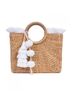 Basket Square Fringe Pastel in White
