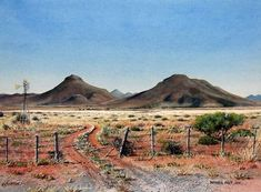 Karoo Farm Road by Barbara Philip ~ watercolor countryscape