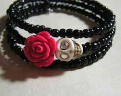 Day of the Dead Bracelet Wrap Around Mini red rose by shabbyskull