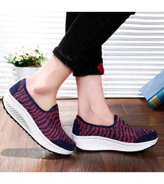 Women's #navy slip on #rocker bottom sole shoe sneakers stripe pattern design, lightweight, sewing thread design, Round toe, casual, leisure occasions.