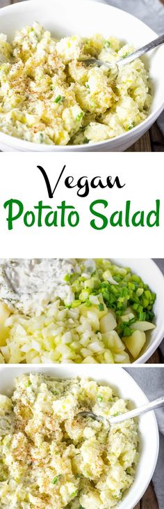 This creamy Vegan Potato Salad is full of flavor with just the right amount of mayonnaise, celery, onion, relish is all you need for your next potluck. #potatosalad #bbq #vegan #glutenfree #picnicfoods #veganbbq