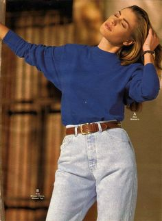 """Mom jeans: high waisted """"Mom"""" jeans were a big trend and the  high-waisted look has come back in to style in more recent years"""