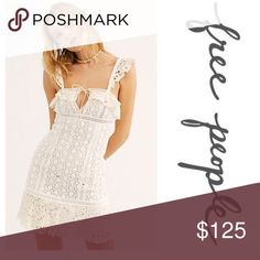 NWT Free People Crochet Mini Dress Lace trim and a lace up plunge add vintage detailing to this versatile mini dress.  Fit: this style fits true to size.  Square neck  Lace trim panels  Lace up plunge accent  Zip closure on side seam  Seam detailing throughout - Midweight lace construction Free People Dresses Mini