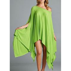 Solid Color Batwing Sleeve Loose Dress