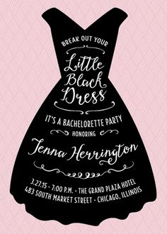 This fun invitation features a simple little black dress illustration and stylish type.