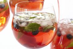 This is a refreshing and sweet punch made from blueberries, raspberries, lime and mint leaves.