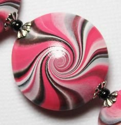 Handmade Polymer Clay Beads Set Pink Black White Lentil Lentils Swirl Spiral Silver Bead Caps Jewelry Supplies...Paris. $15.00, via Etsy.
