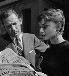 """Audrey and William Holden during the filming of """"Sabrina"""" (1954)."""