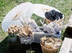 Outdoor Ceremony Favors.    Photography: Braedon Photography.   Read More:  http://www.insideweddings.com/weddings/rustic-elegant-celebration-on-ranch-in-bakersfield-california/606/