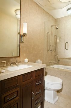 Having shower-tub combo also allows you to indulge in a refreshing occasional bubble bath. We promise our brilliant bathtub shower combo ideas won't fail to Narrow Bathroom Designs, Bathroom Renovation, Traditional Bathroom Remodel, Tub Shower Combo, Bathrooms Remodel, Bathroom Design Small, Simple Bathroom, Bathtub Shower Combo, Bathroom Renovations
