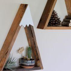 SET OF 3 Woodland Nursery Mountain Shelf Room Decor Snow Peak