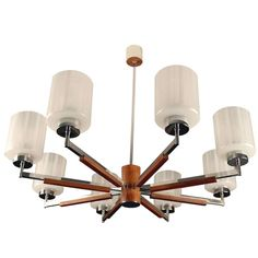 Danish 8-Spoke Sputnik Chandelier / Lamp in Teak and Glass | From a unique collection of antique and modern chandeliers and pendants  at http://www.1stdibs.com/furniture/lighting/chandeliers-pendant-lights/