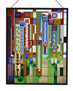This Frank Lloyd Wright Saguaro Metal Framed Stained Glass vividly recreates one of Wright's most popular designs.