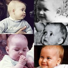 Prince George top left, Catherine bottom left, William bottom right, Charles top right and Diana middle right.